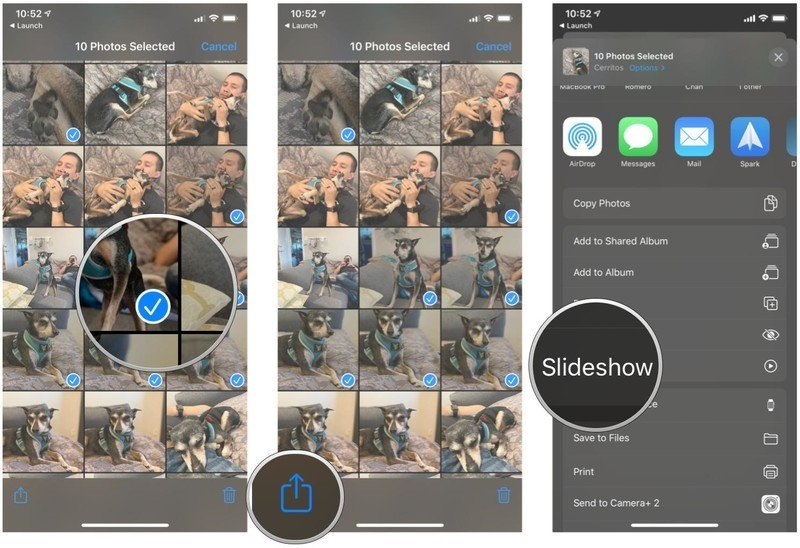 Start a slideshow with select photos in Photos app on iPhone and iPad by showing steps: Tap the photos you want to use in slideshow so that they have a blue checkmark, then tap Share, then select Slideshow