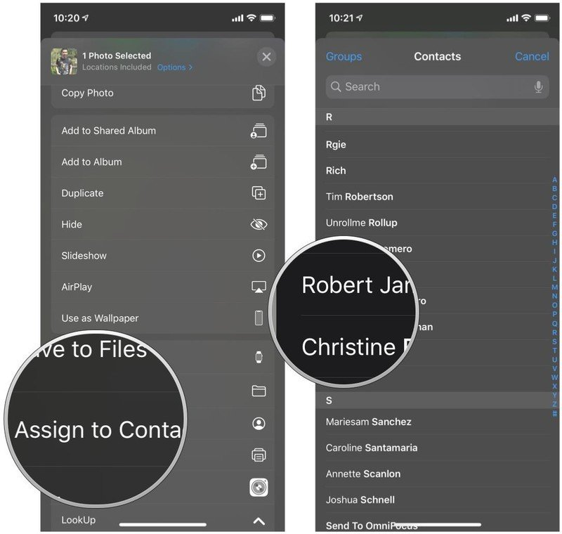 Assign photos to contacts in the Photos app for iPhone and iPad by showing steps: Tap Assign to Contact, choose your contact