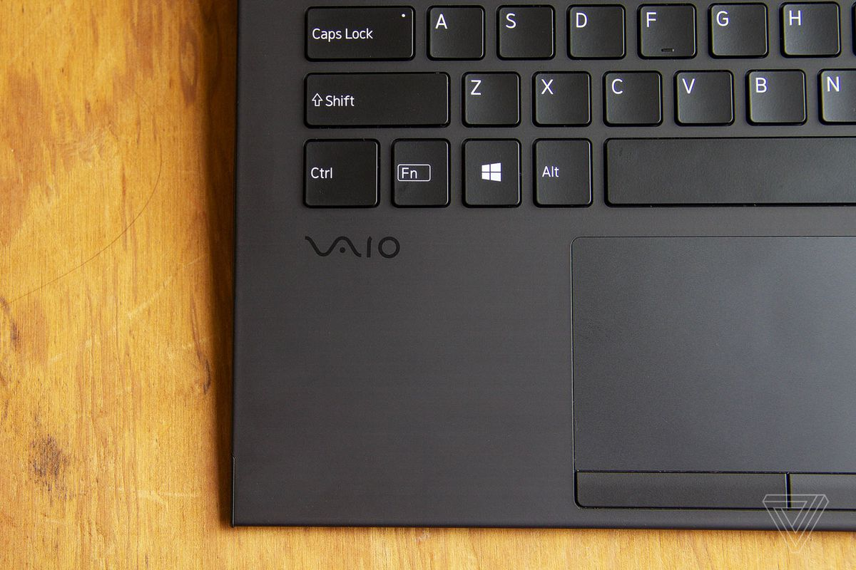 The Vaio logo below the bottom left corner of the Vaio Z keyboard seen from above.