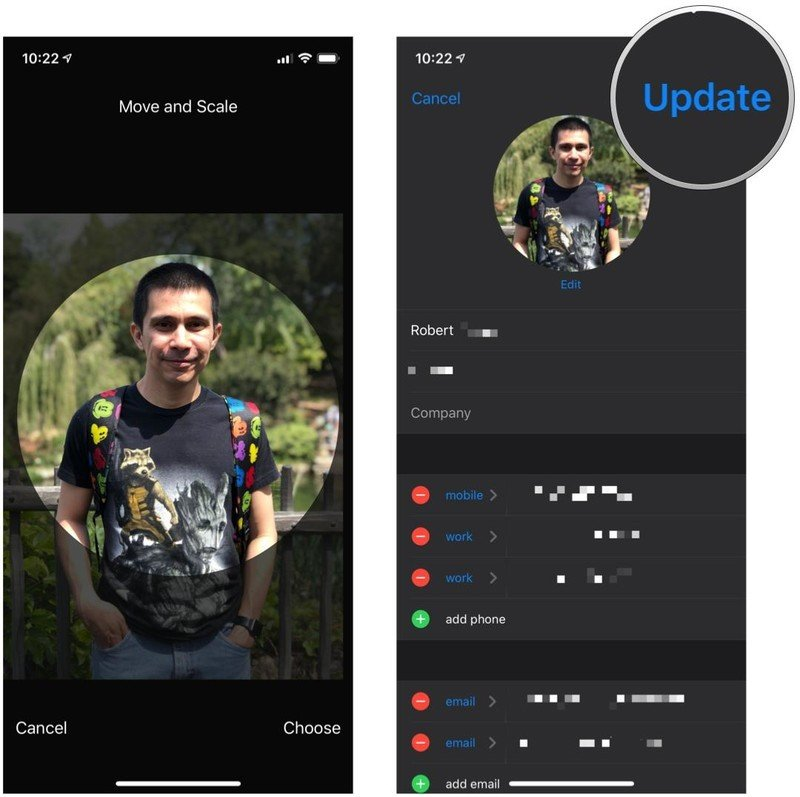 Assign photos to contacts in the Photos app for iPhone and iPad by showing steps: Move the photo around until what you want to use is in the frame, then tap Update
