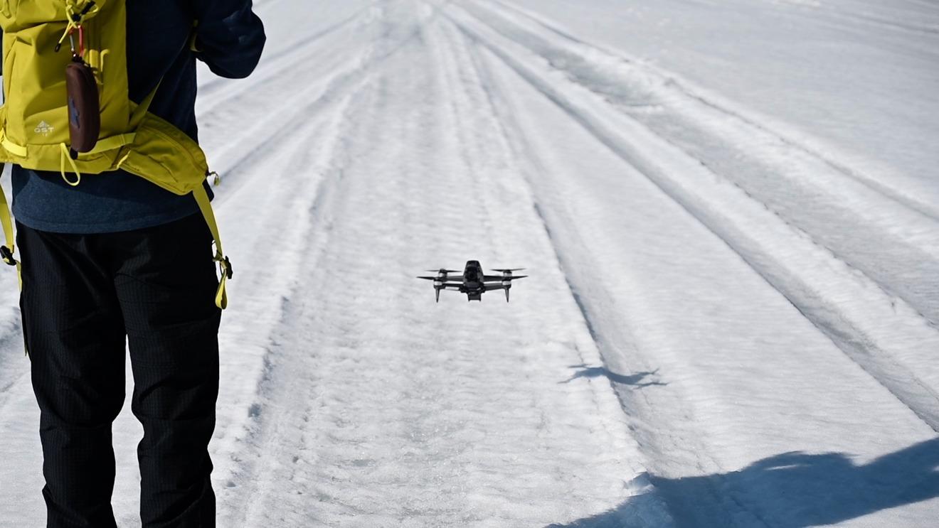 DJI FPV drone hovering
