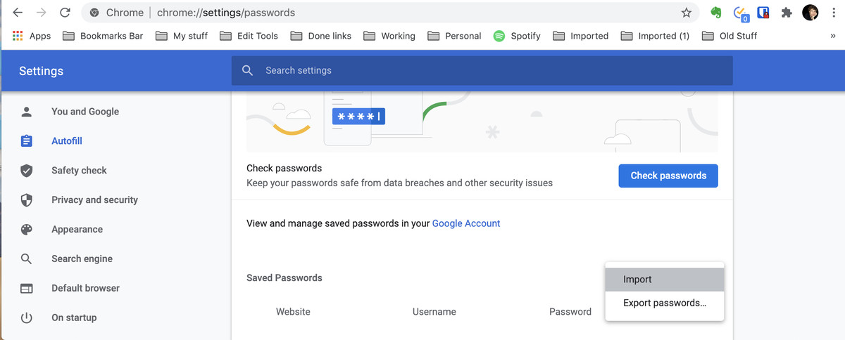 Chrome should now have an Import selection under Saved Passwords