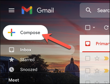"""In the Gmail web interface, press the """"Compose"""" button to begin sending a new email."""