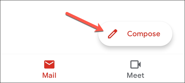 """In the Gmail app, tap the """"Compose"""" button."""