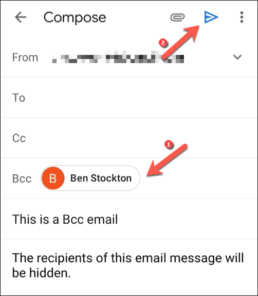 """Add the email recipients you wish to hide in the """"Bcc"""" field box, then tap the """"Send"""" button to send the message."""