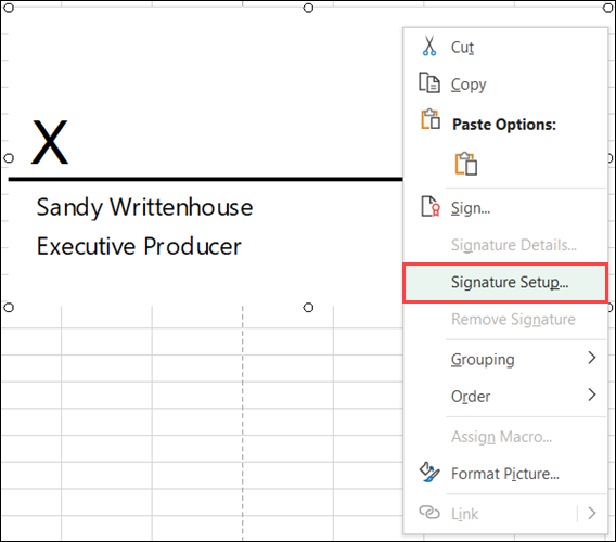 Right-click and pick Signature Setup to edit the items
