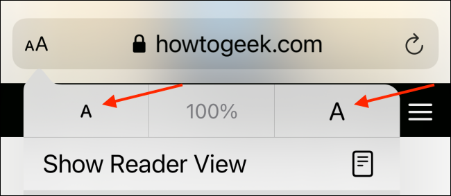 Increase or Decrease Text Size in Safari