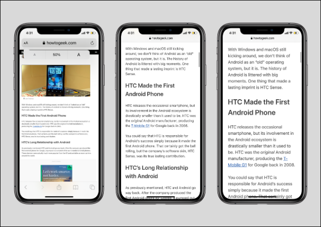 Small and Big Text Sizes in Safari on iPhone