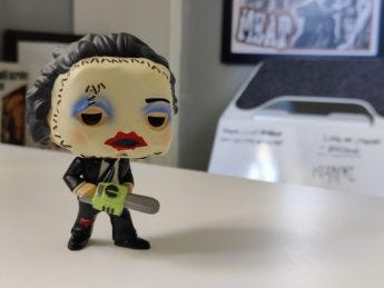 OnePlus 9 Pro Camera Sample: Portrait mode of a Leatherface Funko Pop