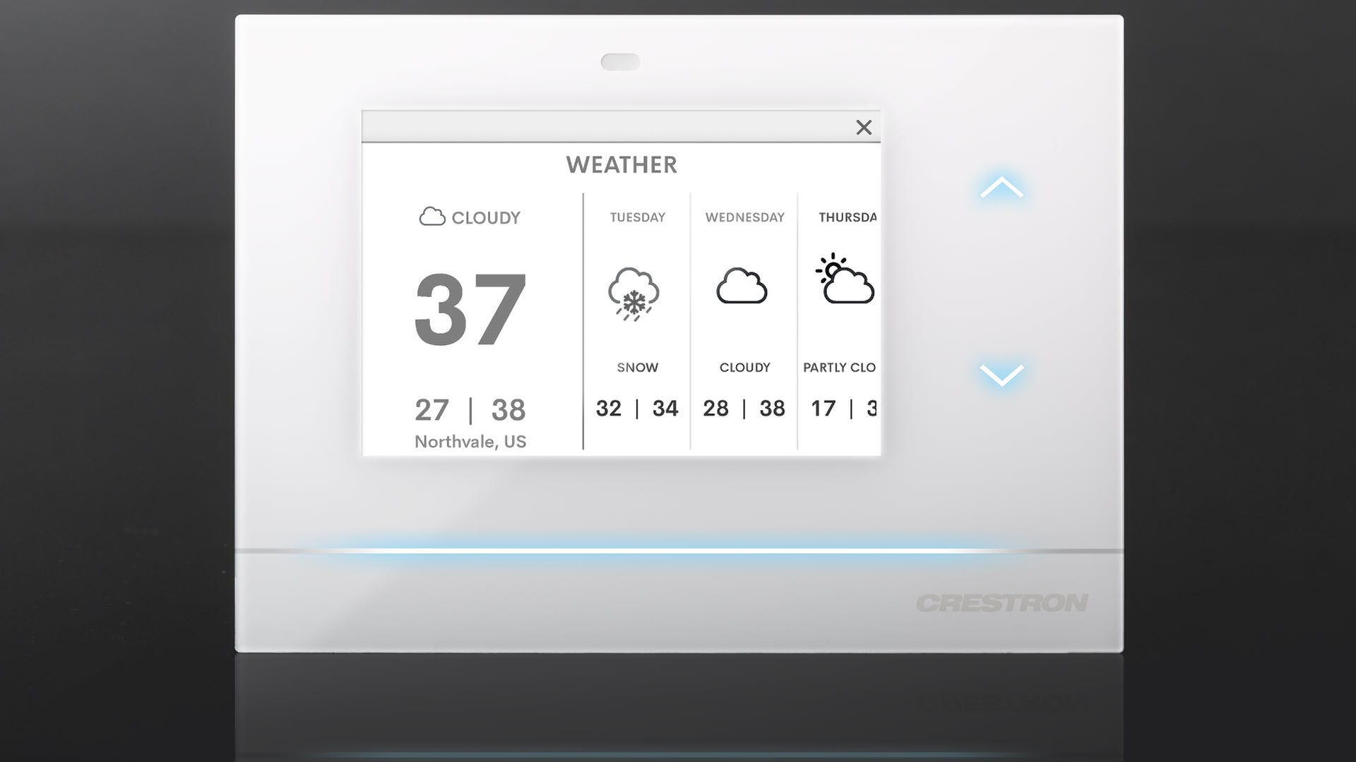 A Crestron thermostat showing the upcoming weather