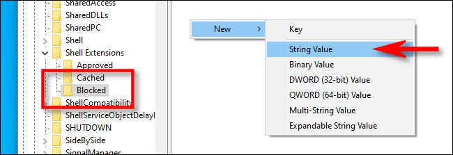 "In the ""Blocked"" key, add a new string value."