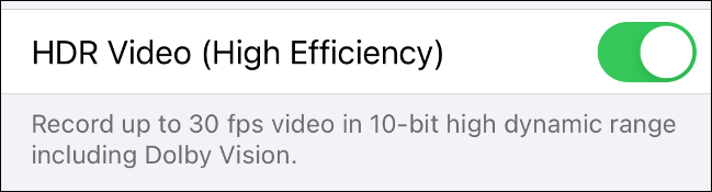 Enable HDR video recording on iPhone