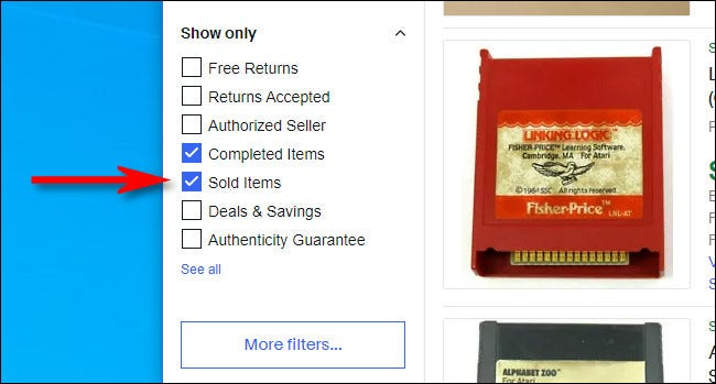 """On the eBay desktop website, check """"Sold Items"""" in the sidebar."""