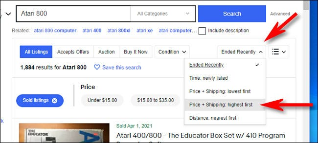 On the eBay desktop site, sort by highest price.