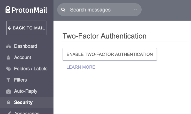 Enable Two-Factor Authentication in ProtonMail