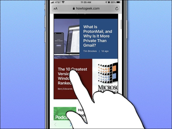 On your iPhone, long-press on a link to see a preview.