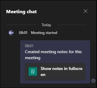 The message in the meeting chat telling participants that notes are being taken.