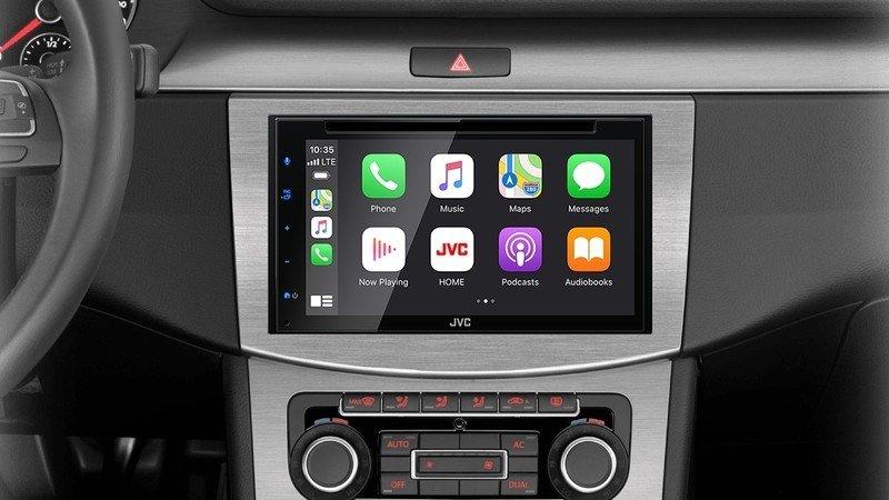 Jvc Kw V66bt Car Stereo with Apple CarPlay on display