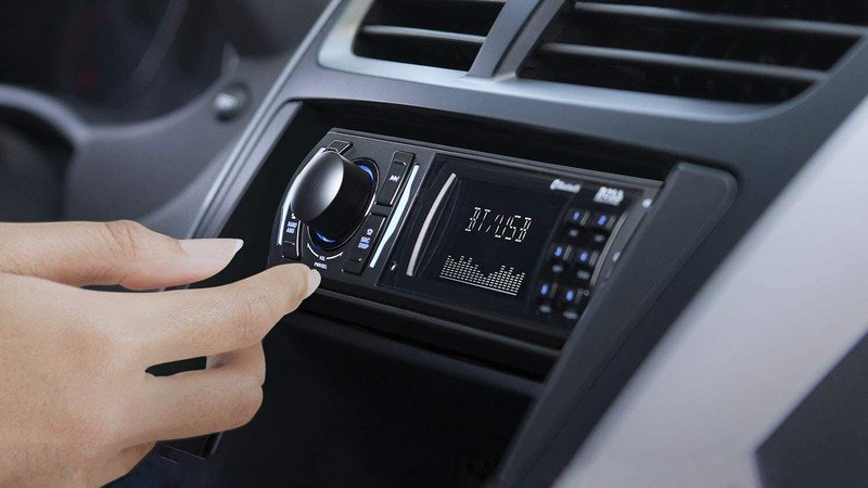 Boss Audio Systems 616uab Multimedia Car Stereo installed inside a car dashboard