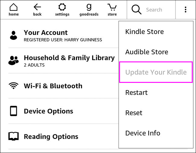 update your kindle option highlighted