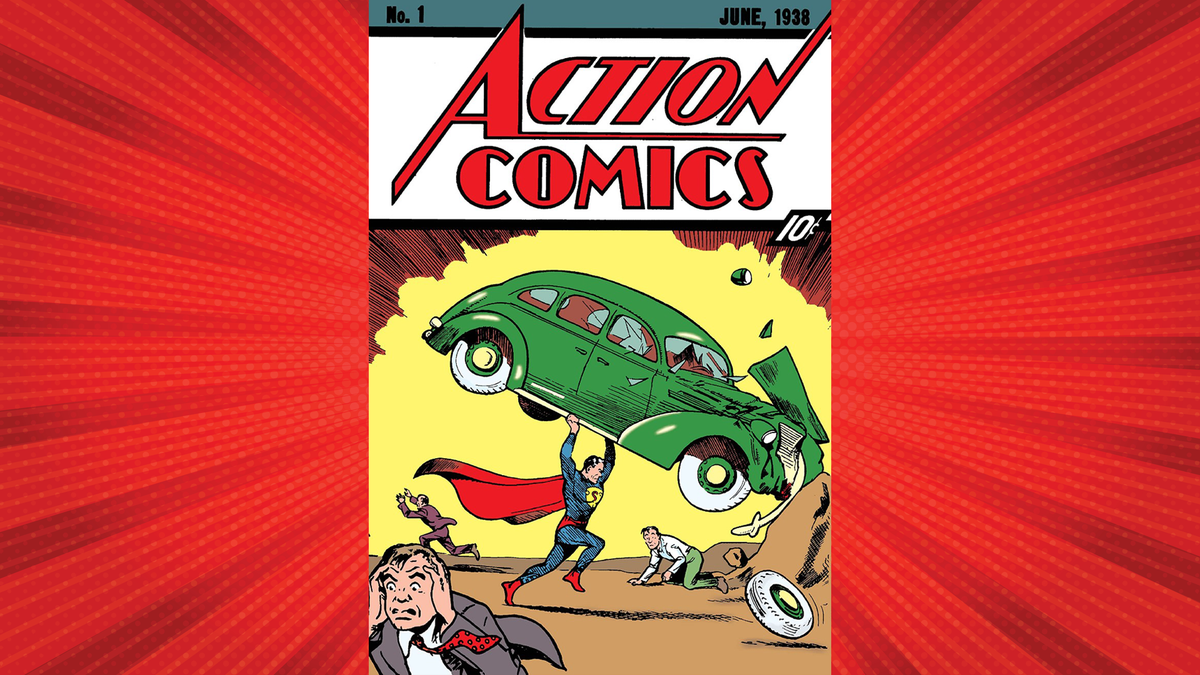 Exciting abstract background with halftone red dots design, and Action Comics #1 in front