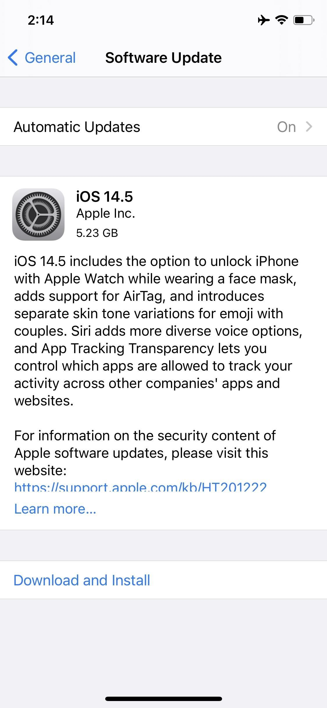 Apple Releases iOS 14.5 RC to Developers and Public Beta Testers