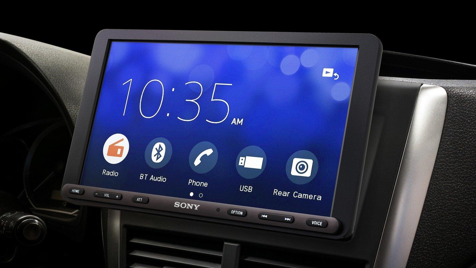 Sony Xav Ax8000 Car Stereo with menu on display in a car