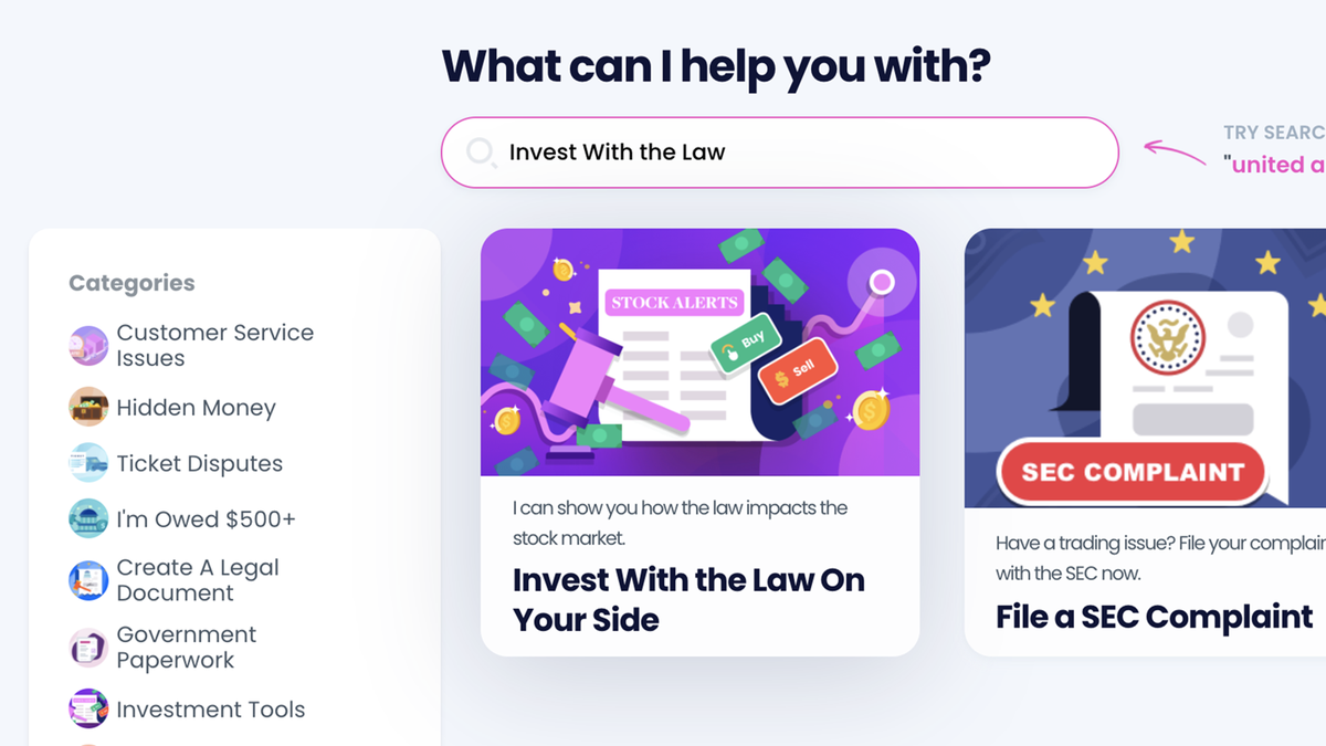 """The DoNotPay site with a """"invest with the law on your side"""" option"""