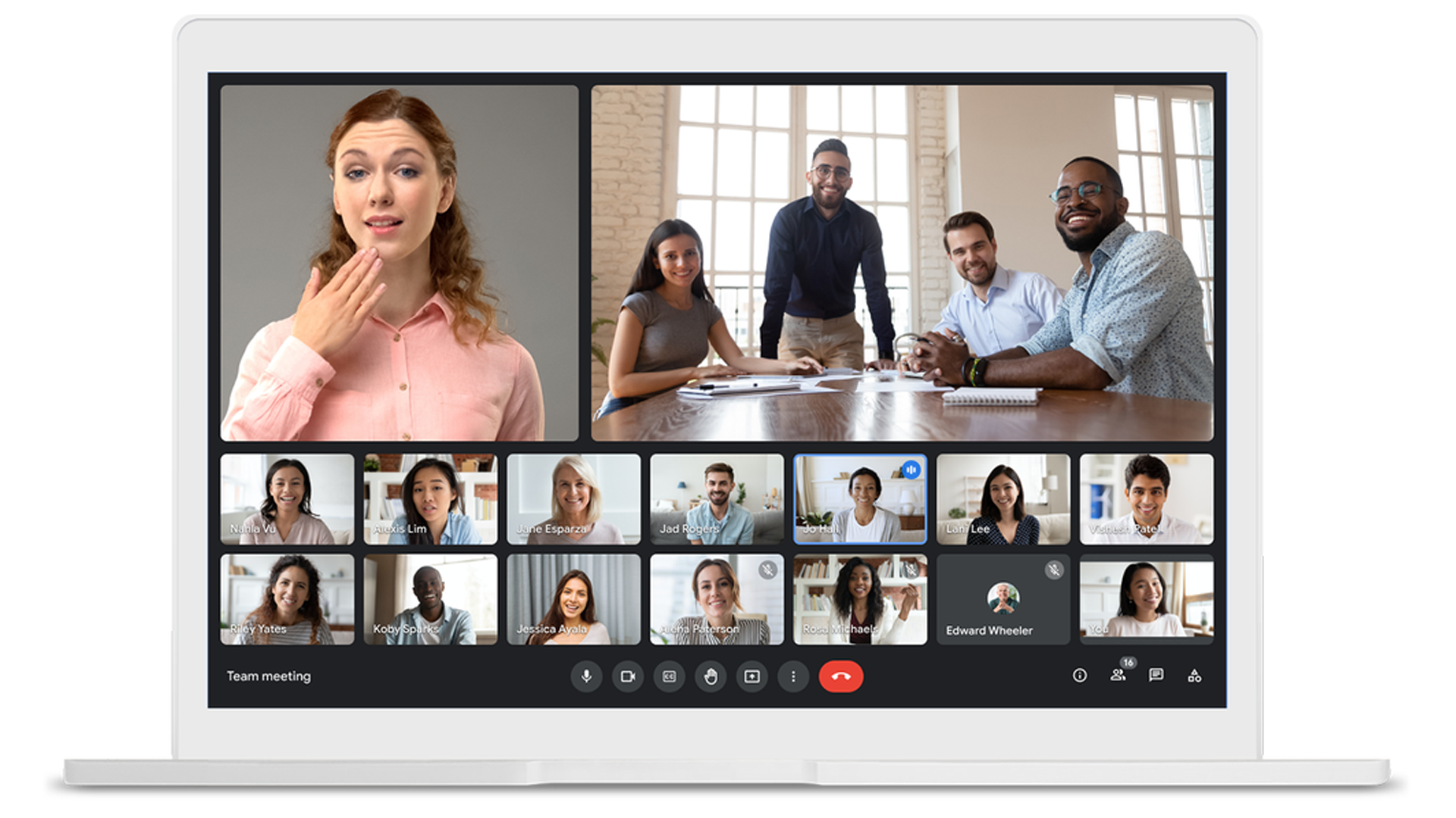 A Google Meet stream with multiple pinned video feeds.