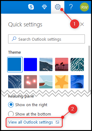 """The """"Settings"""" cog and the """"View all Outlook settings"""" option."""