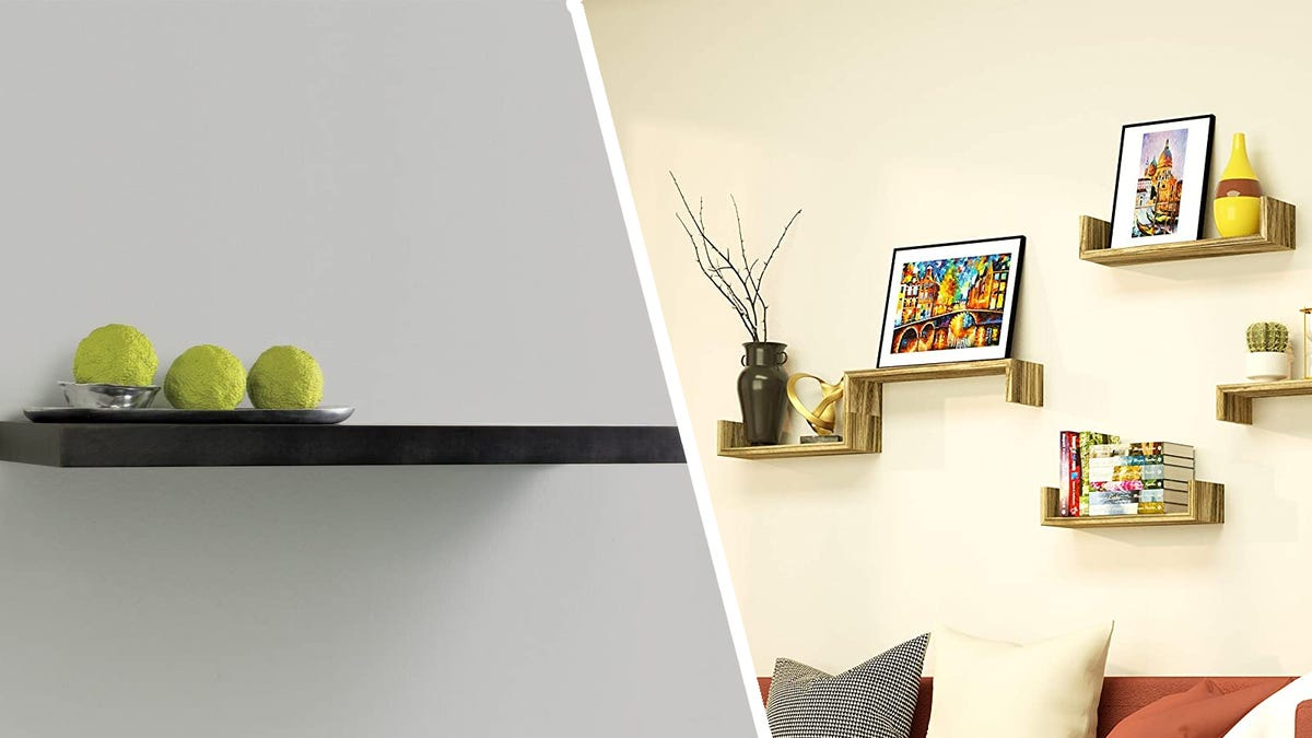 Photos of InPlace floating shelf and SRIWATANA floating shelves in a collage