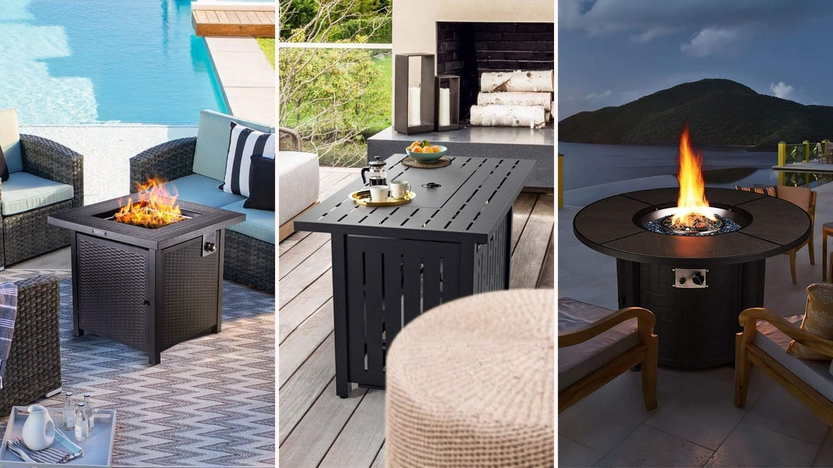 Three side by side images: The left image is of a small square fire table by Tacklife, the middle image is of a small rectangular shaped fire table by SNAN, and the right image is of a small round table by Femor.