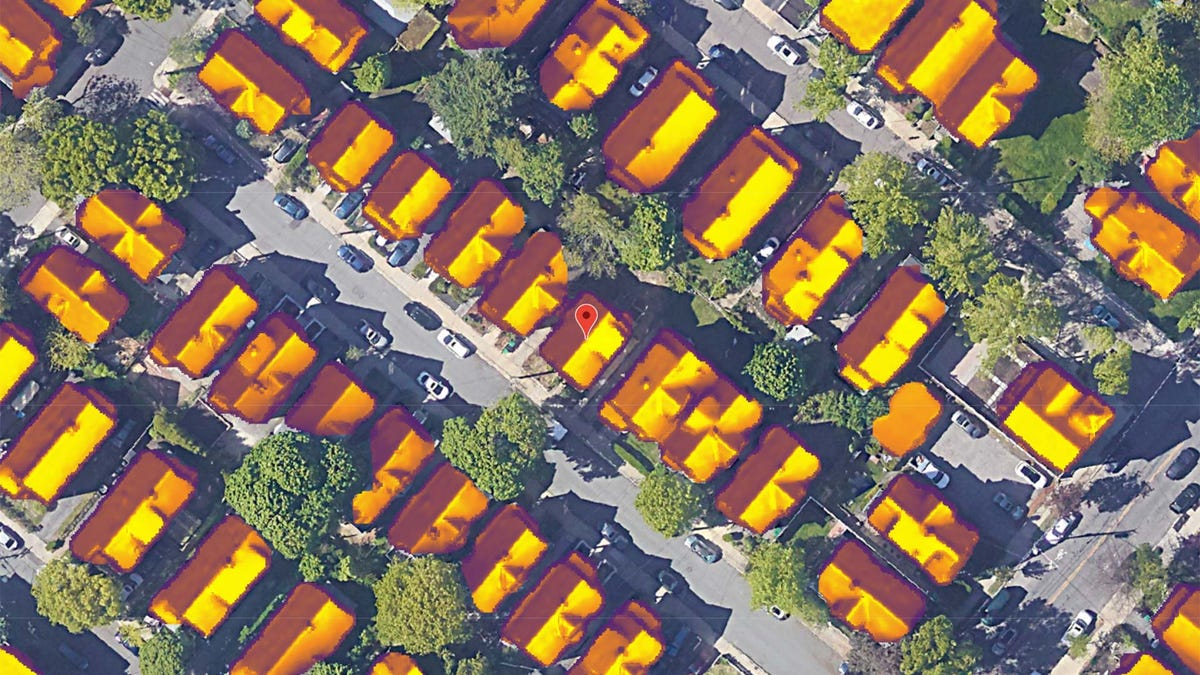 A satellite view of a neighborhood, showing how much sun each roof gets.