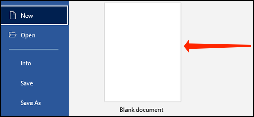 Click Blank Document