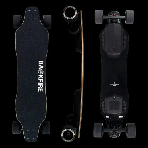 Backfire Boosted Board in top, side, and bottom view