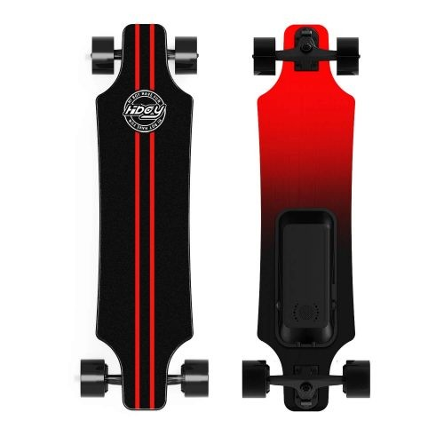 red and black hiboy electric skateboard, top and bottom view