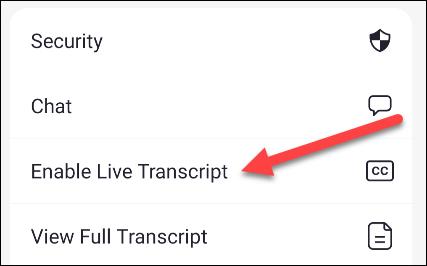 enable live transcript