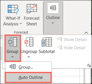 Click Group and then Auto Outline