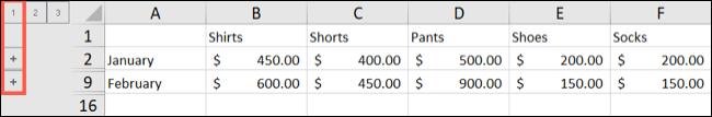 Excel Outline Level 1