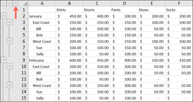 Excel Outline Level 3