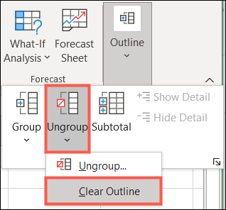 Click Outline, Ungroup, Clear Outline