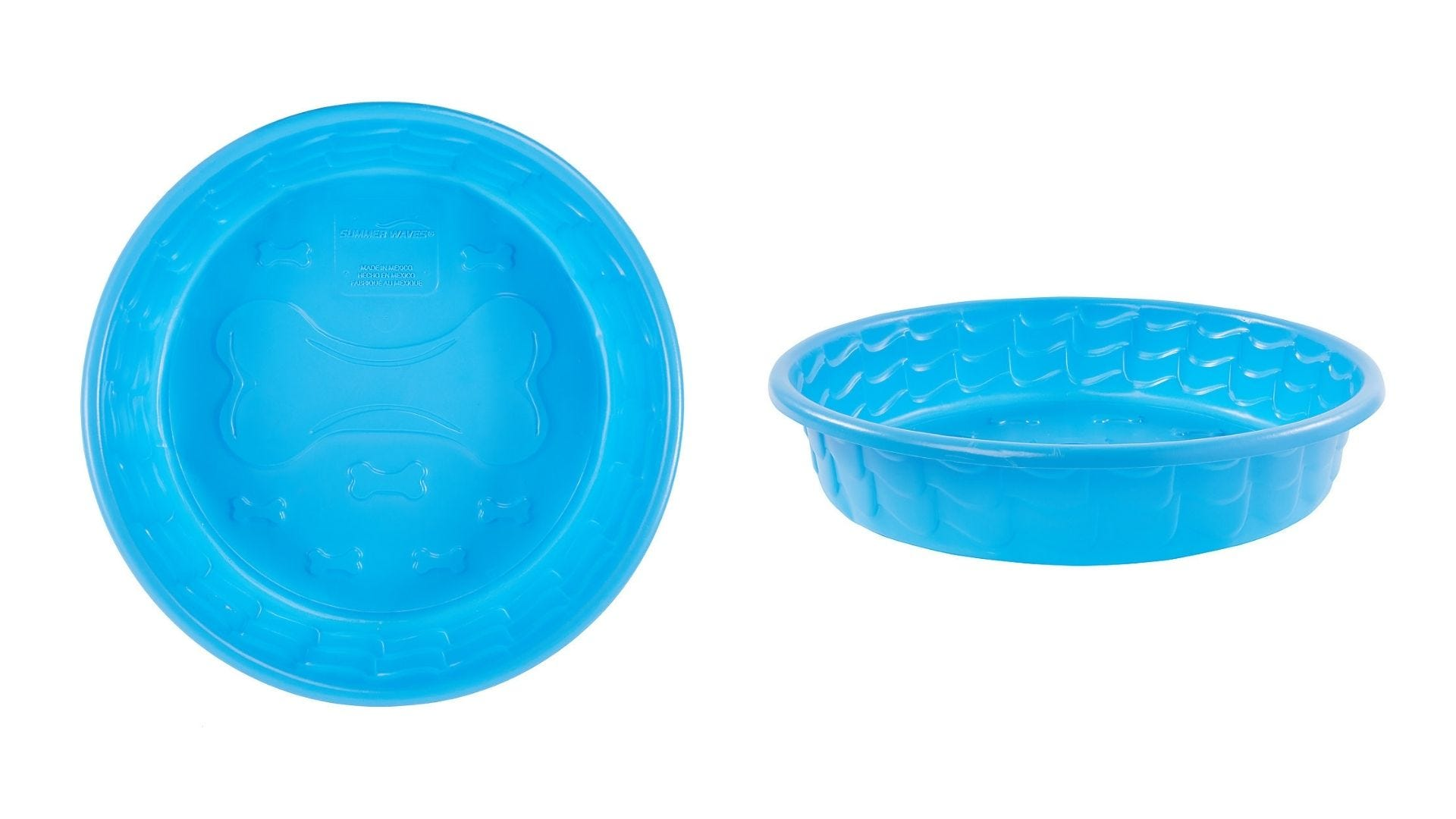 A small plastic dog pool top view and side view.