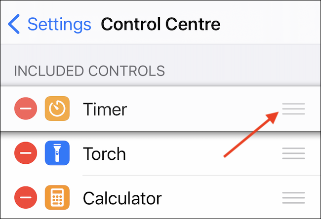 If necessary, move the order of Timer in Control Center by dragging the menu icon (three lines).