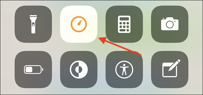 """Tap and hold the """"Timer"""" icon in Control Center."""