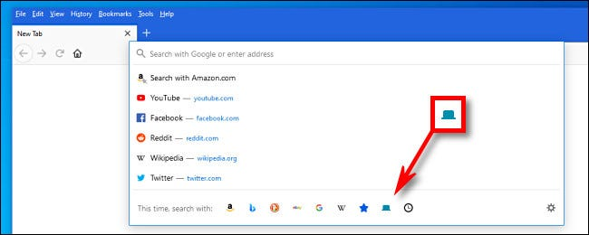 In the address bar menu, click the blue Tabs icon.