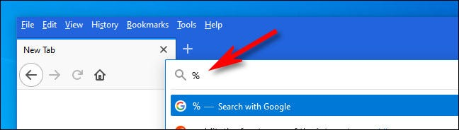 """Enter a percent symbol (""""%"""") into the address bar and hit space."""