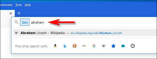 With Tabs search activated, type in your query.