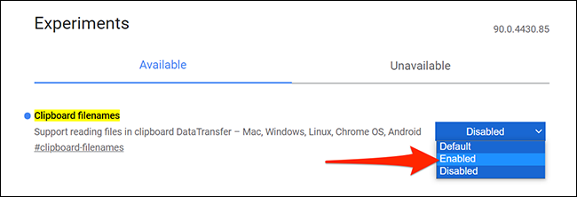 """Enable """"Clipboard filenames"""" in Chrome's """"Experiments"""" tab."""
