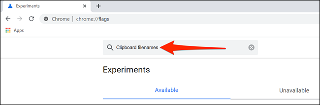 """Search for Clipboard filenames in Chrome's """"Experiments"""" tab."""