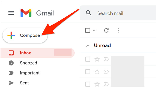 """Click """"Compose"""" in the Gmail interface."""
